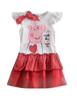 NWT Girls Cartoon Pig Red Tutu Heart Party Birthday Dress Size 3/4 3T