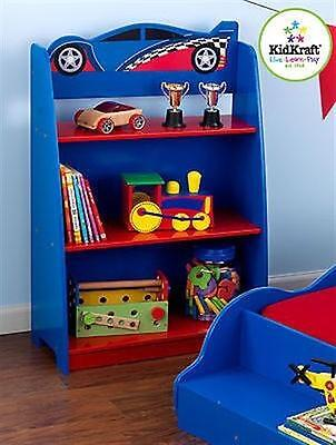 Kidkraft 76042 Racecar Blue Red Car Bookcase ...