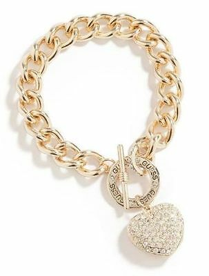 Guess Gold Chunky Chain Bracelet Rhinestone Heart Charm B C Gold Bracelets