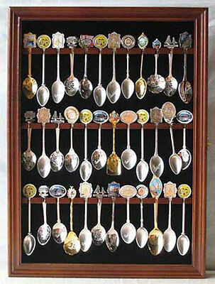 36 Spoon Display Case Rack Holder Wall Cabinet, glass door, SP01-WALN