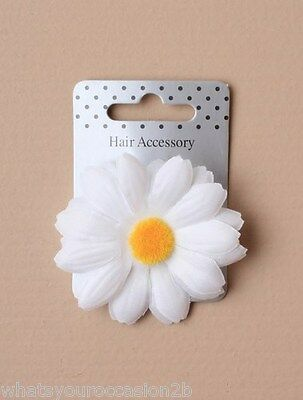 New White Fabric Daisy Hair Flower Forked Beak Clip 5cm