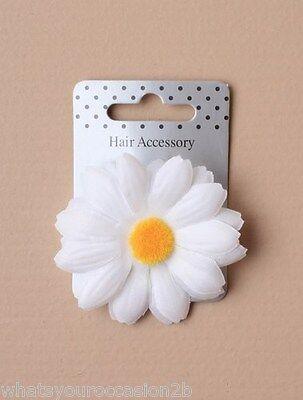 New White Fabric Daisy Hair Flower Forked Beak Clip 5cm