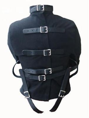 Asylum Straitjacket (Black Canvas Strait Jacket Leather Leg Straps Straight Asylum Costume 4)