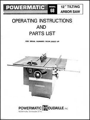 Powermatic Model 68 12 Inch Table Saw Manual
