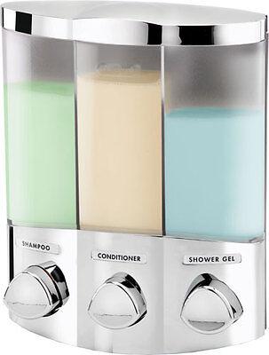 TRIO 3-FACH SEIFENSPENDER CHROM SOAP DISPENSER WANDMONTAGE