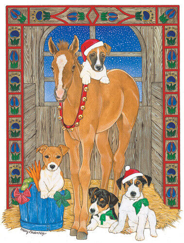Jack Russell Terrier with Horse Christmas Cards Set of 10 cards & 10 envelopes