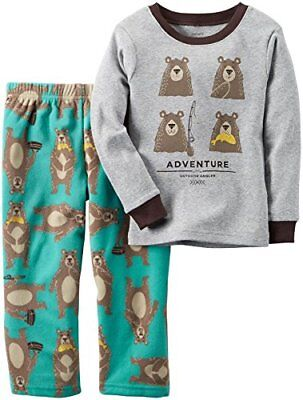 - Carter's Boys' 2 Pc Cotton and Fleece Adventure Bear, Pajama Set, Size 5T