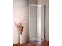 Brand new Bi-Fold Shower Door by AICA - 760x1850mm - Glass & Chrome *delivery available*