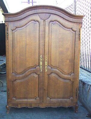 - Tiger Quartersawn Oak COUNTRY FRENCH PROVINCIAL 2 Door ARMOIRE WARDROBE Cabinet