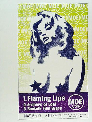 Flaming Lips Archers of Loaf Moe Cafe Seattle Washington 1995 Poster Modern Dog