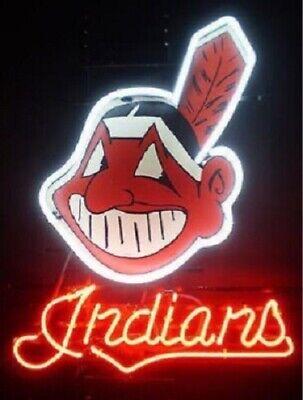 "New Cleveland Indians Beer Bar Man Cave Neon Light Sign 20""x16"" Artwork Poster"