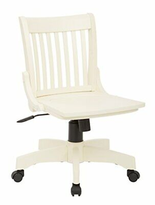 Osp Home Furnishings Deluxe Wood Bankers Armless Desk Chair With Wood Seat Anti