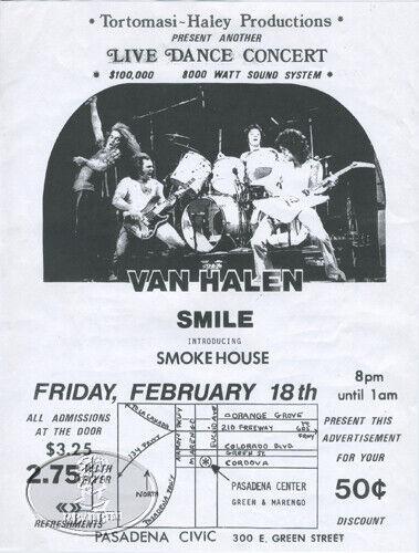 ORIGINAL VAN HALEN 1977 CLUB FLYER PASADENA 2/18/77 Verge of Stardom