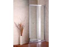 New Bi-Fold Shower Door by AICA - 760x1850mm - Glass & Chrome (RRP £100)