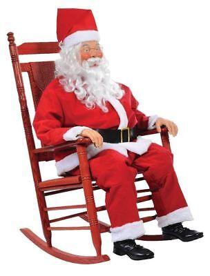 Christmas LifeSize Animated ROCKING CHAIR SANTA CLAUS Prop Halloween Holiday NEW - Animated Halloween Rocking Chair