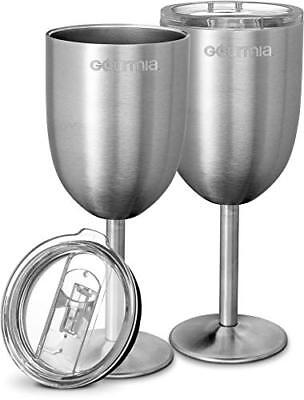 Plastic Glasses With Lids (Gourmia GGS9350 2 Pack Stainless Steel Wine Glasses With Clear Plastic Lids)