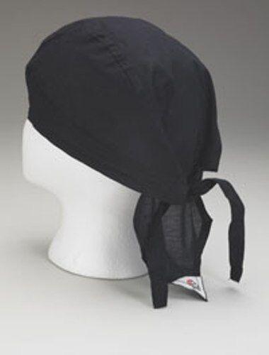 12 NEW BLACK CHEF HAT - COMMERCIAL - TIE BACK - CAP BEANNIE - DOO RAG