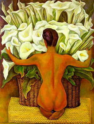Lilies Oil Painting - CHOP15 3pcs 100% hand-painted oil painting Nude with Calla Lilies art on canvas
