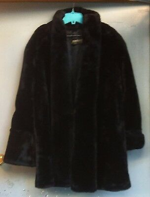 Monterey Fashions Vintage Women's Black Faux Fur Coat Made In U.S.A. 1980's