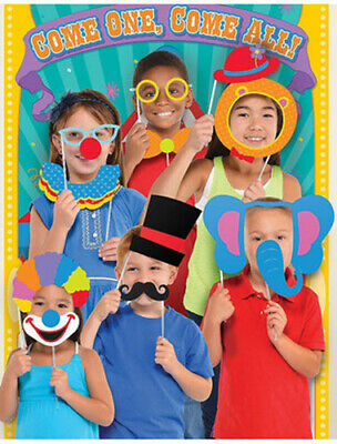 CARNIVAL CIRCUS Scene Setter Party backdrop w/12 photo booth props clowns tent - Circus Scene Setters