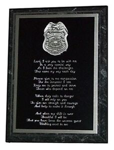 POLICE OFFICER'S PRAYER PLAQUE - GREAT GIFT OR AWARD !