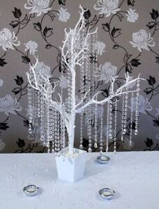 5 x Crystal Diamond Acrylic Garland Droplets Wedding Wishing Tree Decorations