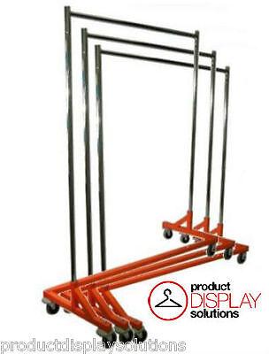Adjustable Height Commercial Grade Rolling Display Z Rack Orange Base