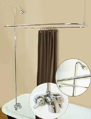 Used, Add A Shower Converter Kit For Clawfoot Tub with Diverter Faucet & Rod Chrome for sale  Newark