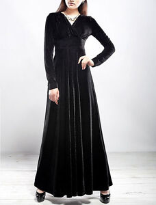 Fashion Winter Autumn Dress Women's Velvet Long-sleeve V-neck Long Maxi Dress