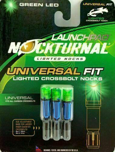 Nockturnal® Lighted Crossbolt Nocks Universal Fit Half Moon Green LED 3 Pack