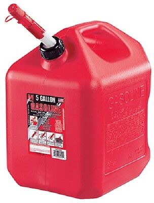 Midwest 5600 5 Gallon Red Poly Gas Gasoline Fuel Can W Spill Proof Spouts
