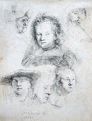 "REMBRANDT Original 1636 Etching - ""Studies of the Head of Saskia and Others"""