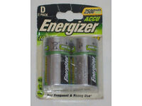 BNIP ENERGIZER 2500 mAh NiMH ACCU RECHARGEABLE D BATTERY 1 Pack HEAVY & FREQUENT