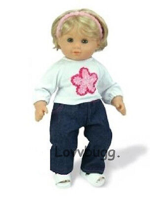 "Lovvbugg Flower T Shirt n Jeans for 15"" Bitty Baby Doll Clothes"