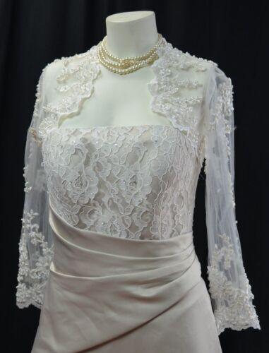 Elegant Bead Lace Bridal Bolero Jacket Wrap Shawl Sequin Bride semi sheer S NEW