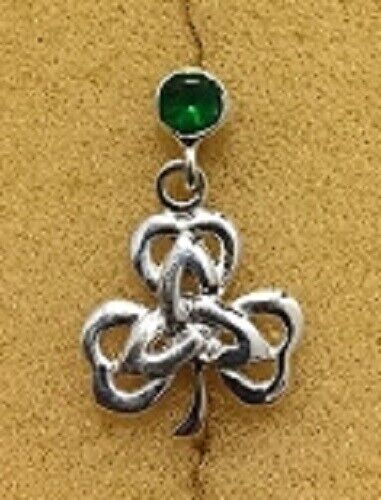 Sterling Silver Synthetic Emerald Post Earring With Shamrock Dangle