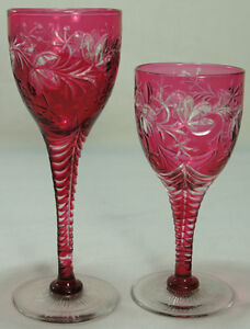 Pair of Cased Cut Cranberry Glass Wine Goblets