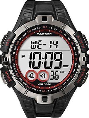 Timex T5K423, Men's Marathon Black Resin Watch, Indiglo, Day/Date, Alarm
