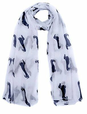 White Dachshund Dogs Print Ladies Fashion Maxi Scarf Wrap Sarong Soft Warm