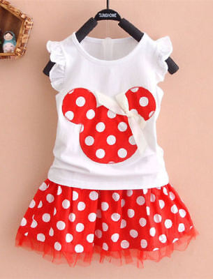 NWT Minnie Mouse Girls White Shirt Red Polka Dot Skirt Outfit Set 2T 3T 4T 5T 6](Minnie Mouse Skirt)