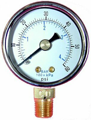 Pneumatic Air Gauge 0-60 Psi Lower Mount 14 Npt .540 Size Thread 2 Face