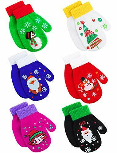6 Pairs Christmas Toddler Magic Stretch Mittens Xmas Baby Knitted Gloves 2-4T