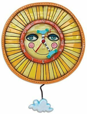 Allen Designs Sunny Skies Pendulum Childs Kids Whimsical Wall Clock