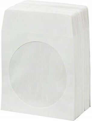 100 CD DVD White Paper Sleeve with Clear Window and Flap Envelopes 100g ()