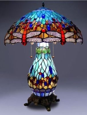 Dragonfly Lighted Base Table Lamp (Tiffany Style Lamp Stained Glass Table & Desk Dragonfly Accent Lighted Base New)