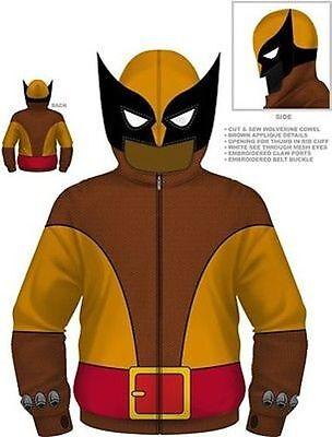 Authentic Marvel Comics Wolverine Brown Wolf X-Men Costume Hoodie S M L Xl 2Xl - Marvel Beast Costume