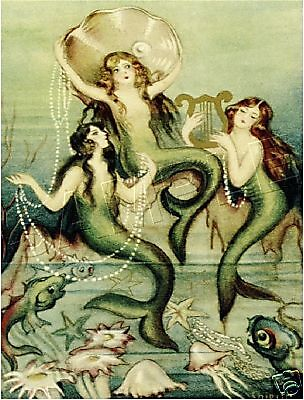 Fairy Fantasy Canvas Art - 3 VICTORIAN PEARL MERMAIDS FAIRY FANTASY CANVAS ART