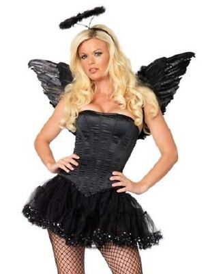 Black Corset Halloween Costume (Leg Avenue Women's BLACK SATIN CORSET Halloween Costume Lace Up)