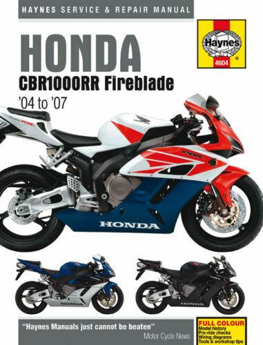 Haynes Manual 4604 Honda CBR1000RR-4 CBR1000RR-5 CBR1000RR-6 Fireblade 2004-07