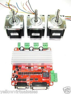 3 X Nema 23 Minebea Stepper Motors Controller 200ozin Cnc Mill Lathe Router